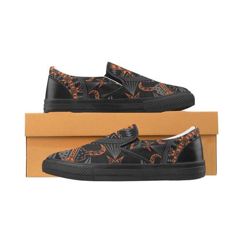 Sacred Buffalo Orange Slip-on Canvas Shoes for Men/Large Size (Model 019)