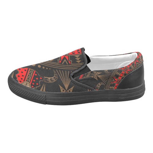 Sacred Buffalo Red/Brown Slip-on Canvas Shoes for Men/Large Size (Model 019)