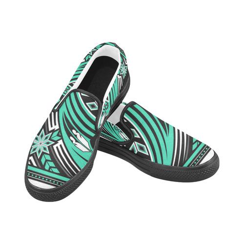 Wind Spirit (Aqua) Slip-on Canvas Shoes for Men/Large Size (Model 019)