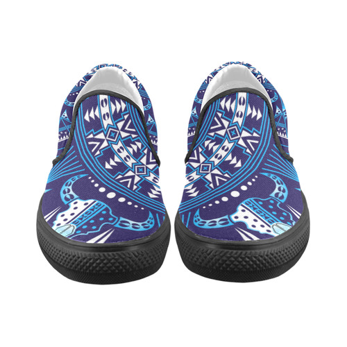 Sacred Buffalo Blue Slip-on Canvas Shoes for Men/Large Size (Model 019)