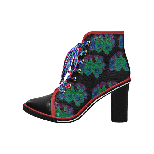 Bouquets of Blue Green and Red Roses Women's Lace Up Chunky Heel Ankle Booties (Model 054)