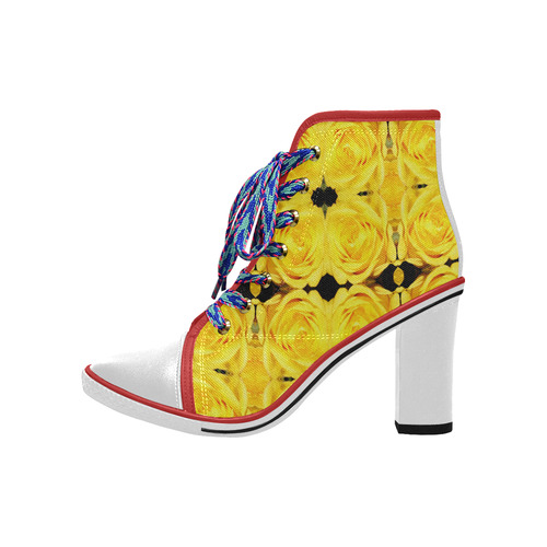 Flowers: Yellow Roses Women's Lace Up Chunky Heel Ankle Booties (Model 054)