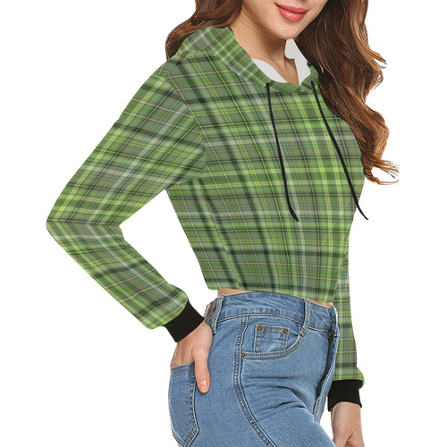 Shades of Green Plaid All Over Print Crop Hoodie for Women (Model H22)
