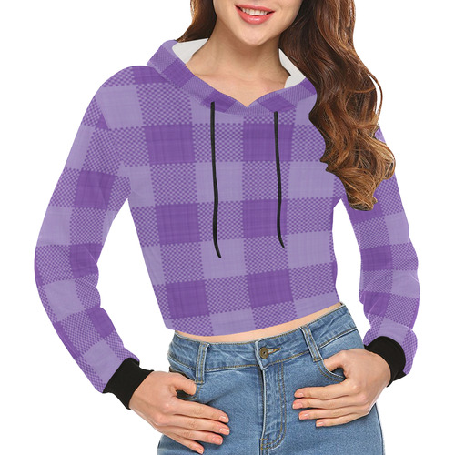 Ultraviolet Purple Plaid All Over Print Crop Hoodie for Women (Model H22)
