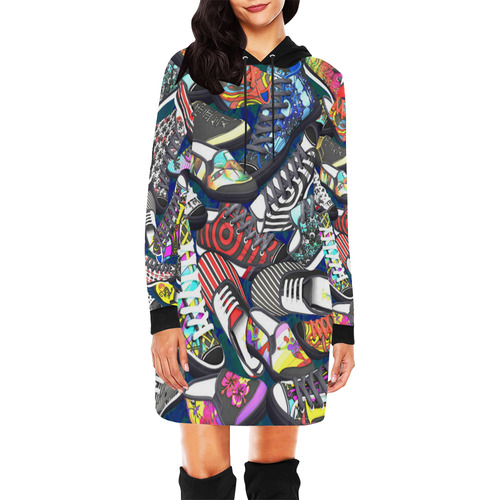 A pile multicolored SHOES / SNEAKERS pattern All Over Print Hoodie Mini Dress (Model H27)
