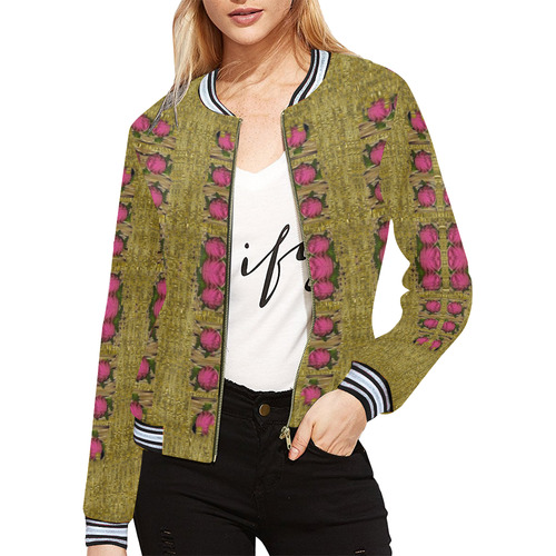 Bloom in gold shine and you shall be strong All Over Print Bomber Jacket for Women (Model H21)
