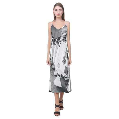Droid Line Slip Dress V-Neck Open Fork Long Dress(Model D18)