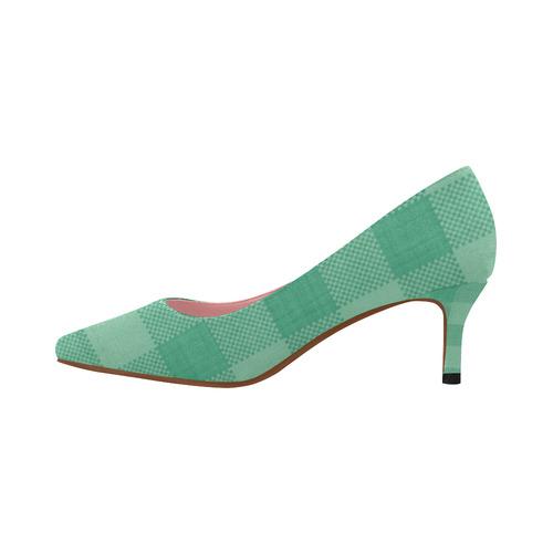 3062b3baf6f Mint Green Plaid Women's Pointed Toe Low Heel Pumps (Model 053) | ID:  D2336782