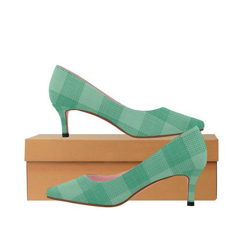 b1a1f6b724a Mint Green Plaid Women's Pointed Toe Low Heel Pumps (Model 053)