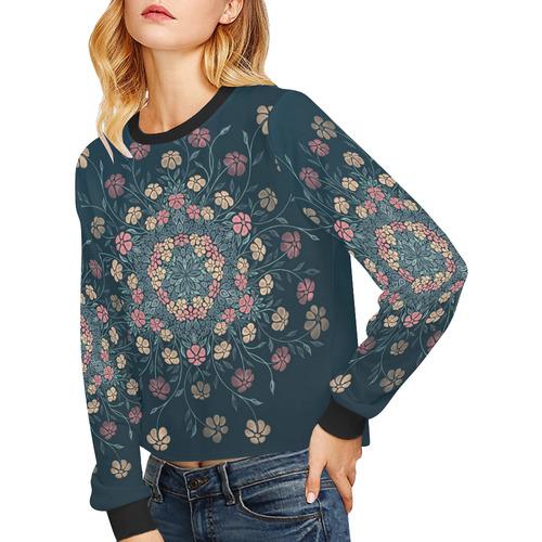 Pretty Powder Pastels Flowers Mandala Crop Pullover Sweatshirts for Women (Model H20)