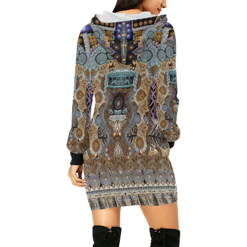 show must go on All Over Print Hoodie Mini Dress (Model H27)