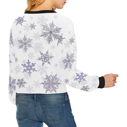 Snowflakes Blue Purple Crop Pullover Sweatshirts for Women (Model H20)