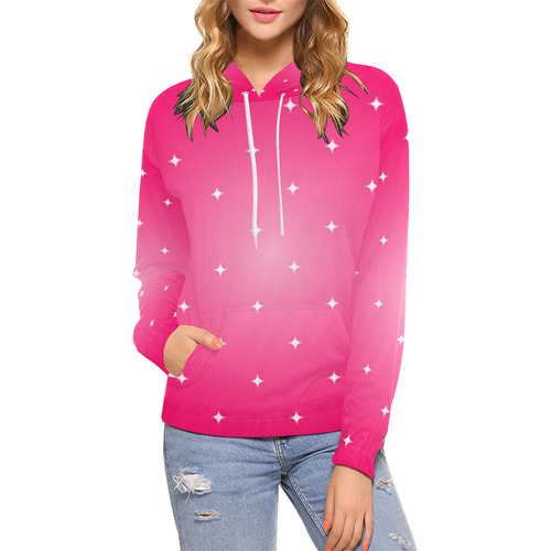 new high quality website for discount 2018 sneakers Pink Stars Anime Princess All Over Print Hoodie for Women (USA ...