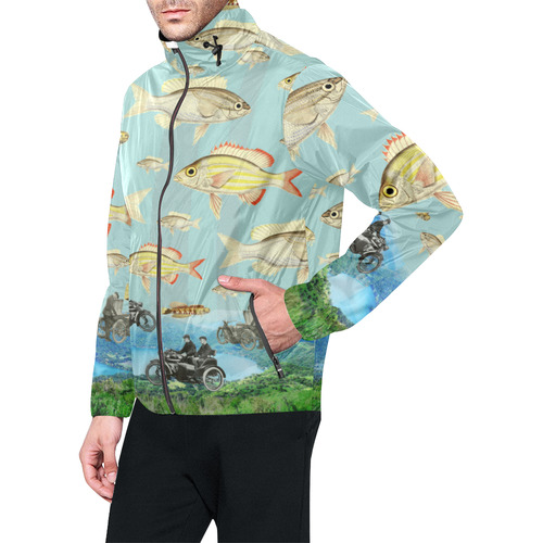 VINTAGE MOTORCYCLES AND COLORFUL FISH... IN THE MOUNTAINS Men's All Over Print Windbreaker (Model H23)