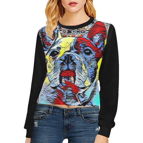 FRENCH BULLDOG OR MOPS II Crop Pullover Sweatshirts for Women (Model H20)
