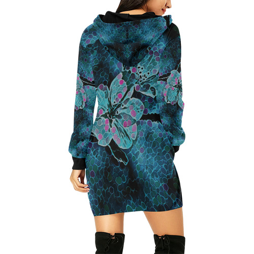 BLUE FLOWERS All Over Print Hoodie Mini Dress (Model H27)