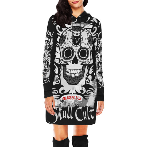 ORIGINAL SKULL CULT All Over Print Hoodie Mini Dress (Model H27)