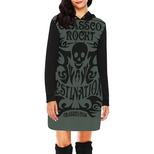 SKULL CRASSCO ROCKT III All Over Print Hoodie Mini Dress (Model H27)