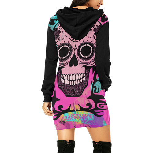 SKULL PINKY ON BLACK All Over Print Hoodie Mini Dress (Model H27)