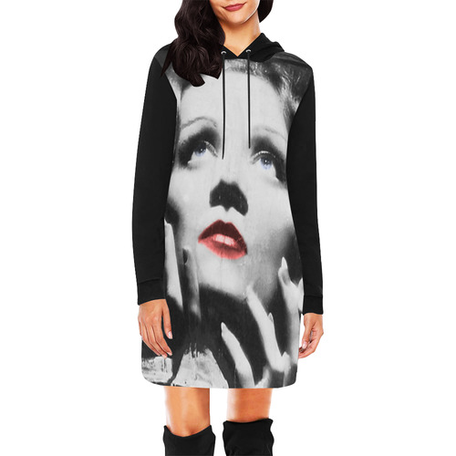 MARLENE All Over Print Hoodie Mini Dress (Model H27)