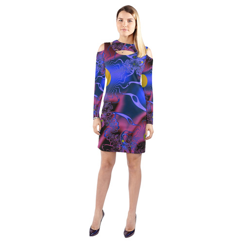 bfa84903aedf Cosmic Mashup Cold Shoulder Long Sleeve Dress (Model D37)