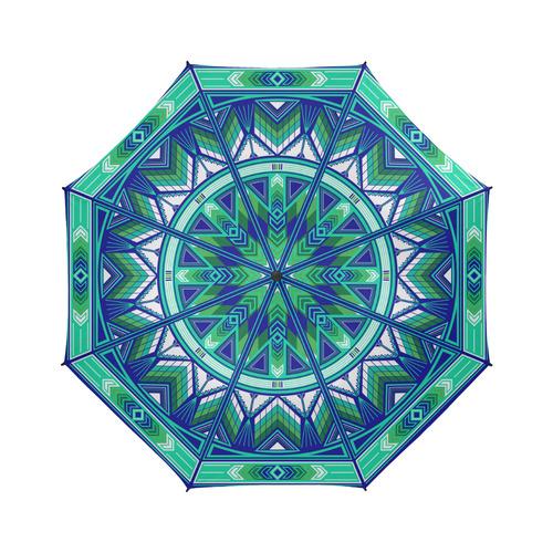 Sacred Places (Aqua) Semi-Automatic Foldable Umbrella (Model U05)