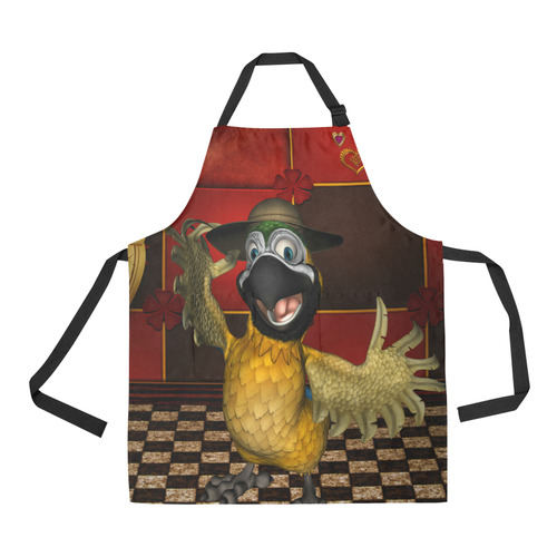 Funny parrot with summer hat All Over Print Apron