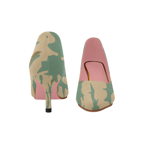 Forest Girl Faux Camo Women's Pointed Toe Low Heel Pumps (Model 053)