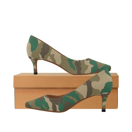 d787e56c2178 Woodland Camo Girl Women s Pointed Toe Low Heel Pumps (Model 053 ...
