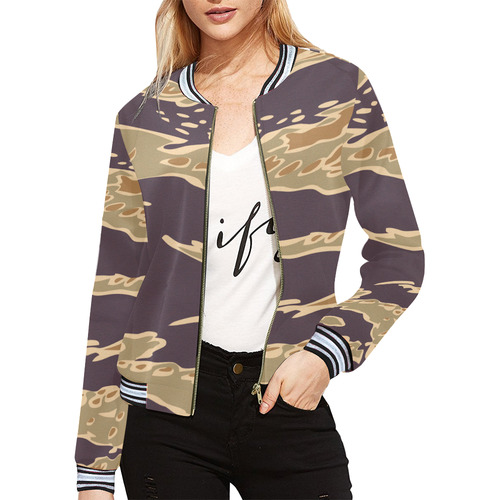 Camo pattern All Over Print Bomber Jacket for Women (Model H21)