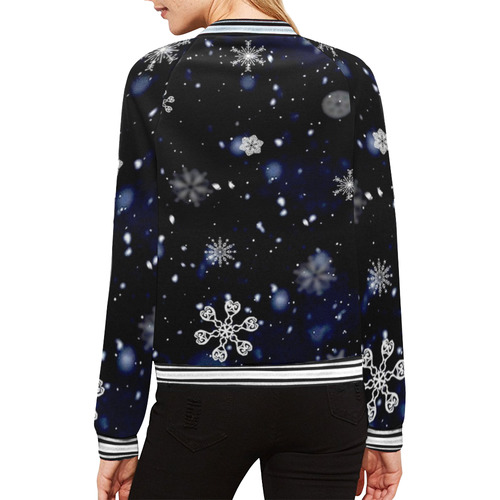 SNOWFLAKES All Over Print Bomber Jacket for Women (Model H21)