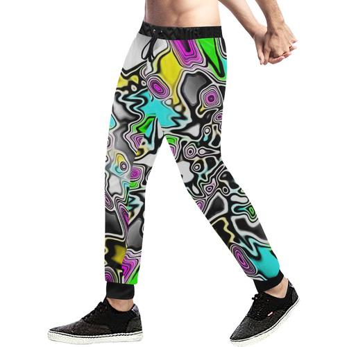 Psychedelic Paint Drop Men's All Over Print Sweatpants (Model L11)