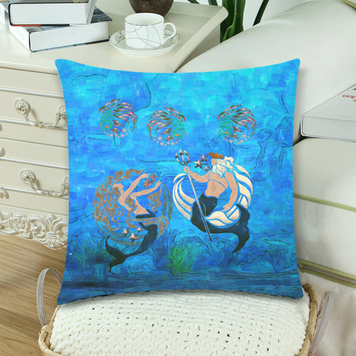 """Myth Of The Sea Custom Zippered Pillow Cases 18""""x 18"""" (Twin Sides) (Set of 2)"""