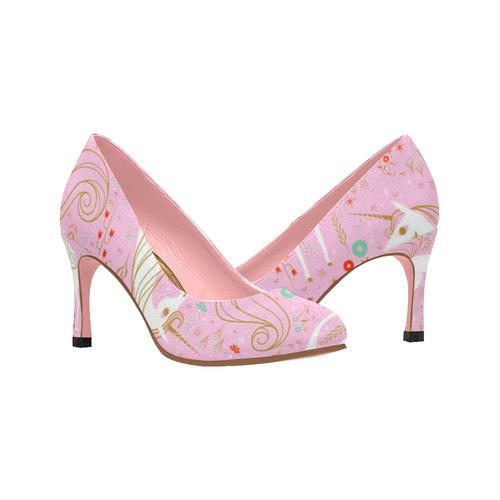 e539e0096a95 Pretty In Pink Unicorn Love Women s High Heels (Model 048)