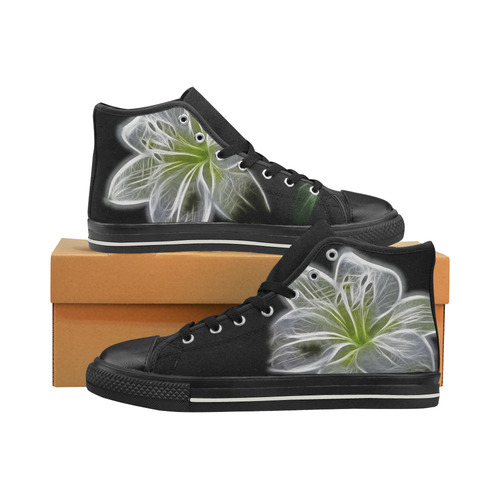 f4798d9eefd3d Fractal Attraction White Flower High Topss Women's Classic High Top Canvas  Shoes (Model 017)