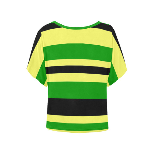 Jamaican inpsired Yellow, Black and Green Stripes Women's Batwing-Sleeved Blouse T shirt (Model T44)
