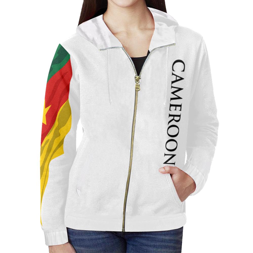 86c9885bf2a9d Cameroon Ladies Custom Hoodie 2.0 (White) All Over Print Full Zip Hoodie  for Women (Model H14) | ID: D2364998