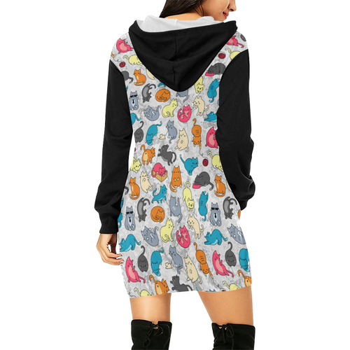 Funny Cute colorful CATS pattern All Over Print Hoodie Mini Dress (Model H27)