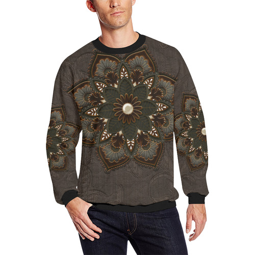 Awesome steampunk mandala Men's Oversized Fleece Crew Sweatshirt (Model H18)