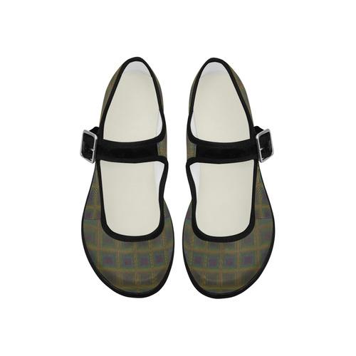 Pale purple golden multicolored multiple squares Mila Satin Women's Mary Jane Shoes (Model 4808)