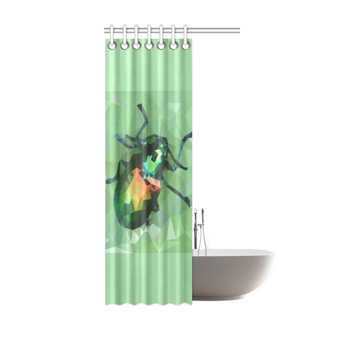 Pretty Green Bug Low Poly Dogbane Beetle Shower Curtain