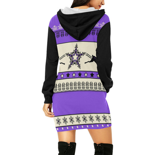 Christmas Ornaments Pattern III All Over Print Hoodie Mini Dress (Model H27)