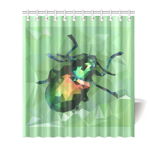 Pretty Green Bug Low Poly Dogbane Beetle Shower Curtain 66x72