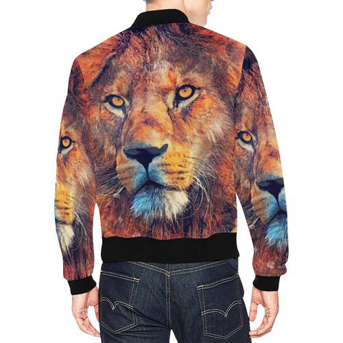 lion art #lion #animals #cat All Over Print Bomber Jacket for Men (Model H19)