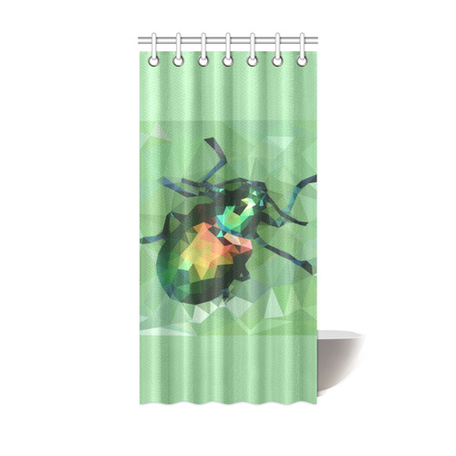 Pretty Green Bug Low Poly Dogbane Beetle Shower Curtain 36x72