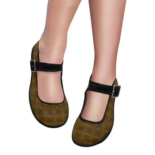 Golden brown multicolored multiple squares Mila Satin Women's Mary Jane Shoes (Model 4808)