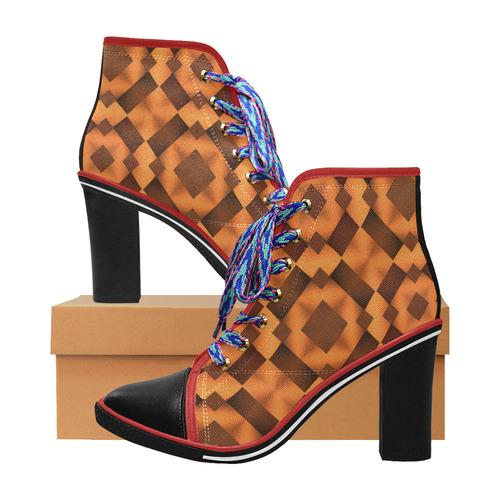10d6521f041 Geometric Pattern in Warm Tones Women's Lace Up Chunky Heel Ankle Booties  (Model 054)