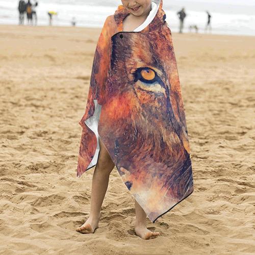 lion art #lion #animals #cat Kids' Hooded Bath Towels
