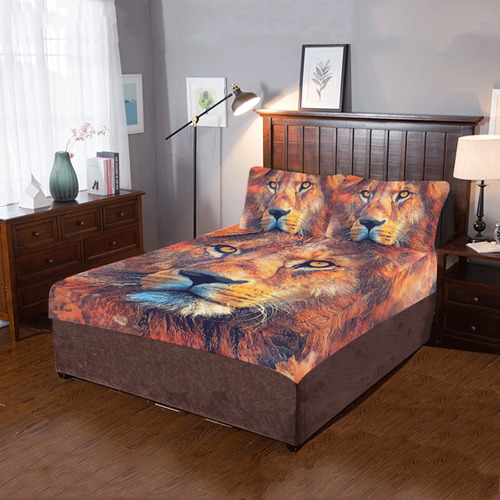 lion art #lion #animals #cat 3-Piece Bedding Set