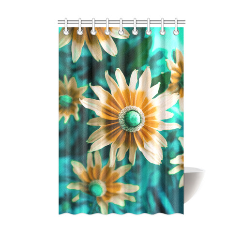 Yellow Orange Flower On Turquoise Green Shower Curtain 48x72